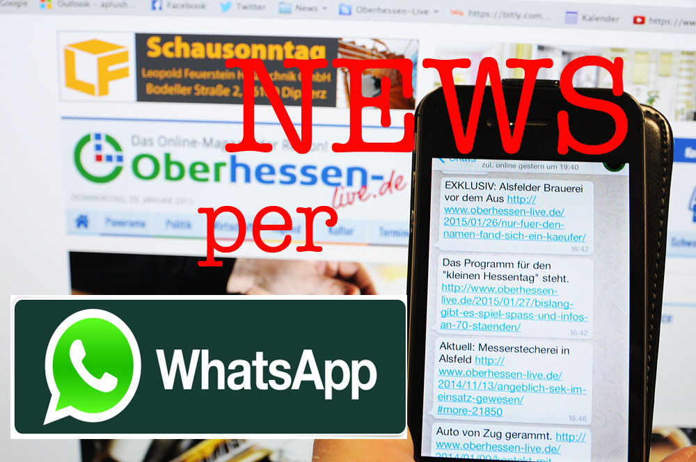 Noch schneller Informiert: Oberhessen-live verschickt ab sofort Neuigkeiten per WhatsApp.