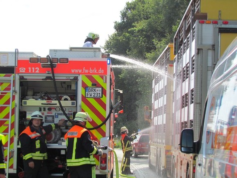 Abkühlung für die Tiere: Feuerwehrleute kühlen den Schweinetransporter. Foto: Polizei