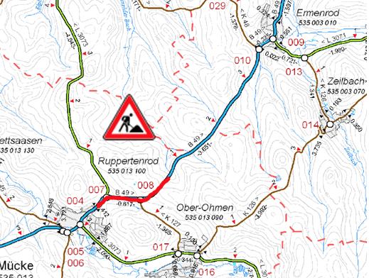Hier wird gebaut: Die Karte zeigt den Abschnitt der Bauarbeiten auf der B49. Foto: Hessen Mobil
