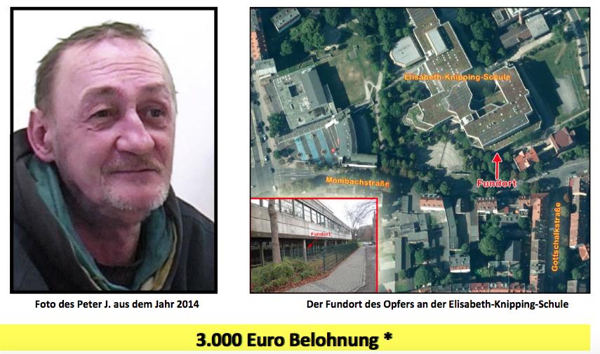 Das Opfer und der Tatort: Ein Ausschnitt aus dem Fahndungsplakat, mit dessen Hilfe die Ermittler den Tod von Peter J. aufklären wollen. Screenshot: OL
