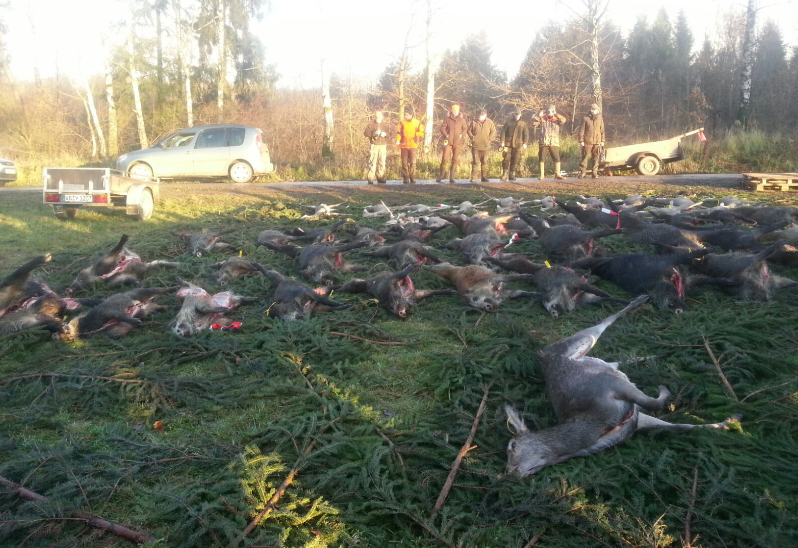 Das Ergebnis einer erfolgreichen Jagd: Jäger mit einer Strecke. Foto: Forstamt Romrod