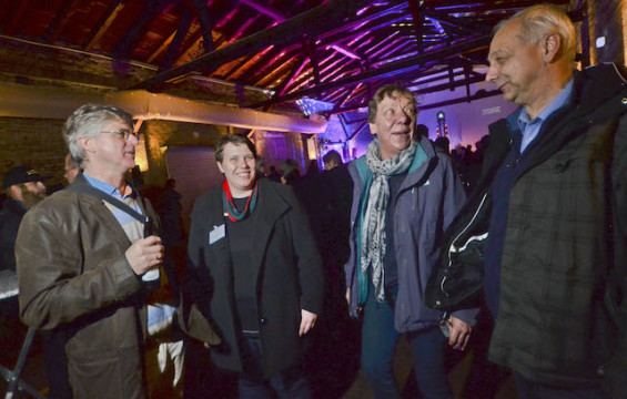 """Haben das Festival mit organisiert: Joachim Legatis vom Vogelsbergradio, und Maria Hoyer, Silvia Lucas sowie Norbert Kelbassa von dem Programm """"Demokratie leben!"""""""