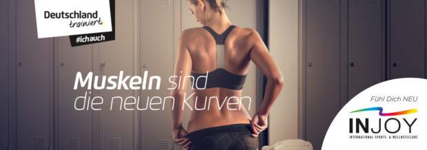 """Muskeln sind die neuen Kurven - Das Injoy in Alsfeld wirbt passend zum Sommer mit einem muskelaufbauenden Trainingsprogramm im Rahmen der """"Deutschland trainiert""""-Kampagne. Foto: injoy/privat"""