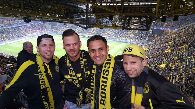Reisten gemeinsam nach Dortmund: Der Alsfelder Mirko Bambey und Elias Fey, Nishan Singh und Jonas Fey. Fotos: privat