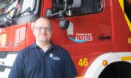 Wände in Feuerwehrrot: Blick in die neue Alsfelder Feuerwehrwache. Fotos: ls