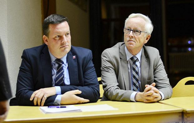 Fusion Kirtorf-Antrifttal: Die Bürgermeister Dietmar Krist und Ulrich Künz. Foto: archiv/jal